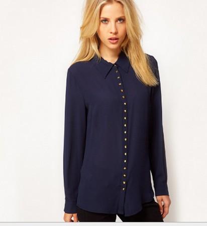 Hot sale 2014 New Europe and America Fall fashion Solid Slim Long sleeve Turn down lollar women chiffon shirt(China (Mainland))