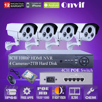 8CH NVR 2.0megapixel HD 25 fps Onvif Array IP outdoor indoor Security waterproof POE Camera Night Vision NVR system with 2TB HDD