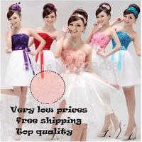 014 Hot Sale!! Elegant Padded Strapless Zipper Short Bridesmaid  Dress Prom Party Dress For wedding