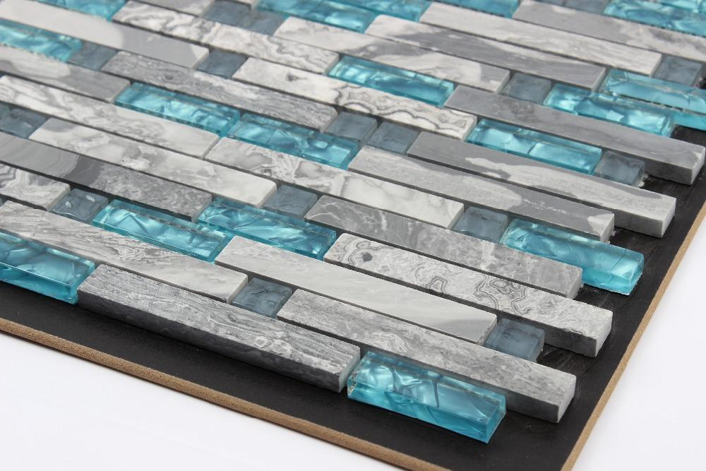 Badkamertegels Blauw : Blue Glass Stone Mosaic Tile Kitchen Backsplash
