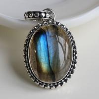 Handmade natural moonlight labradorite pendant 925 pure silver blu ray