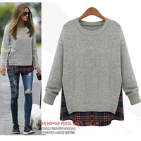 2015 Patchwork asymmetrical Sweatshirts Embroidery Pullover Long Sleeve Grid Print Hoodies For Women Casual Gray Pullover nz203
