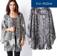 Fijipedia Fashion Women Spain Style Chiffon Kimono Cardigan Tassel Regular Floral Print Blouse/mujer Ropa Camisas Femininas