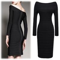 2014 new autumn fashion long sleeve stretch slim pencil women casual dress strapless bandage dresses S-XXL