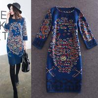 New Hot Sale 2014 Autumn Winter Sweater Dress Women Retro Print 3/4 Sleeve Long Sweater Ladies European Design Knitwear Blue Red