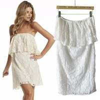 2014 Hot Cute Party Dress Fashion Sexy Europe & America Style Women Strapless Lace White Summer Dresses