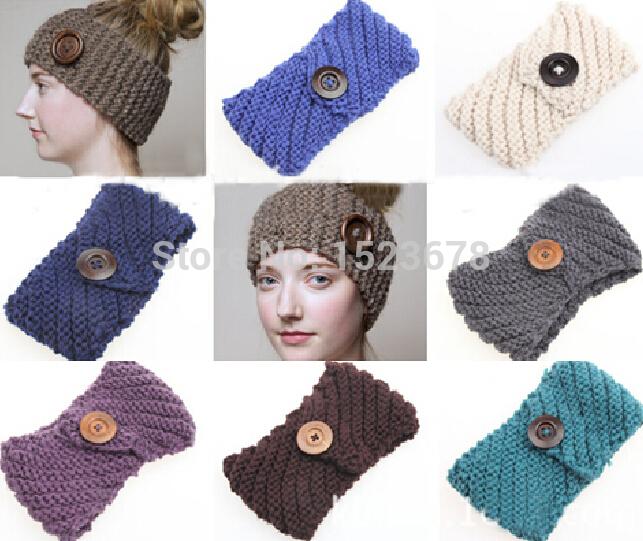 New handmade Solid Big Buttons Women Knitted Headwrap Knitting crochet headbands ear warmers for Girls Teens 50 pcs/lot(China (Mainland))