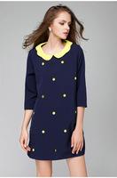 2015 brand new higth quality antumn winter fashion women dot peter pan collar three quarter sleeve work dress casual dress L-4XL