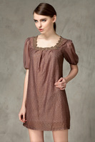 2015 new higth quality summer fashion women soild color short sleeve square collar chiffon lace dress casual dress 2color L-3XL