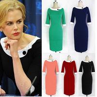 2014 New doll collar-sleeve temperament hip slim slimming dresses factory outlets vestidos fiesta
