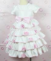 Baby Kids 2014 new sweet bow flower girl dress Retail princess 1pcs dancing clothing princess children tutu kids dress