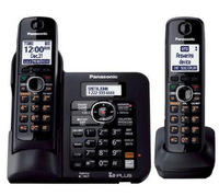 New Arrival KX-TG6642 B - 2 Handsets DECT 6.0 Expandable Digital Cordless Answering System with a Dual Keypad - Black