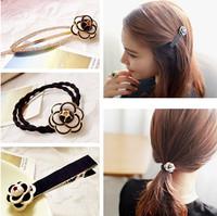 Hotsale Beautiful Flower Black White Hair Ropes Hair Clips for Girls Women Hair accessories