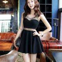 New Fashion Black Chiffon Women's Cute Sleeveless Dress TND001