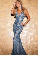 2014 Blue Metallic Look Lace Mermaid Long Evening Dress LC6913 vestido longo 2014 New Arrival Formal Dresses