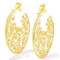 Stud Earrings Florid Glossy 30MM 18K Gold Hollow Pattern Flower Vines Vintage Women Factory Direct