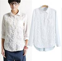 2015 Trendy Women Leaves Crocheted Shirts Slim Women Pockets Elegant White Shirts Spring Summer Blouses Plus Size XL