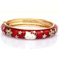 Wholesale Hello kitty cloisonne enamel bangle bracelet kid's jewelry children free shipping (B2 029)