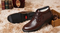 Promotion men's keep warm snow boots,100% genuine leather winter natural wool boots,special offer,free shipping,BBC011