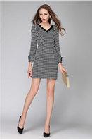 2015 brand higth quality new antumn winter women plaid V neck long sleeve casual dress fashion dress work dress plus size L-4XL