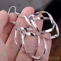 Fashion Women's Silver Plated Alloy Tassels Twisted Ear Drop Dangle Hoop Earrings