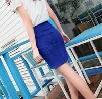 2014 saias femininas thread slim hip pleated skirts saia midi skirt Striped Elastic Waist Women's Skirt women clothing