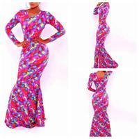Latest Spring 2015 O- neck Fashion party dress Fashion Women Sexy Long Dress High Slit Printed Maxi Dresses plus size S-L