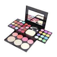 1 Set Make Up Palette Set Eyeshadow Lip Gloss Foundation Powder Blusher Puff Tool Free Shipping