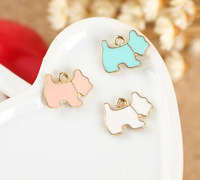 Free Shipping Newest 14*11MM 50PCS/lot Animal Dog Metal Alloy Jewelry Bracelet Charms DIY Oil Drop Gold Tone Keychain Charm