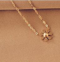 Fine and Fashion Gold Flower Choker 18K Rose Gold Titanium Women Necklace Chain