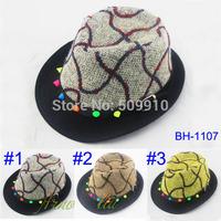 2014 New Fashion Baby Fedora Hat Kids Rivet Jazz Cap Children Autumn and winter Top hat 2pcs/lot free shipping BH-1107