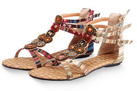 New authentic Bohemian National Wind gemstone beaded flat sandals Roman flat with open-toed shoes 1021-88
