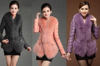 2014 popular topshop trench genuine leather women natural fur skin warm jacket women leather fox fur collar leather jacket coat