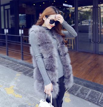 Женщины искусственного меха лисы жилет высокое качество мода женщин жилет без рукавов люкс зима длинное пальто дамы топы бесплатная доставка Z793