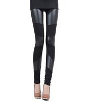 2014 new Fashion Sexy Shiny Metallic High Waist Black Stretchy Leather Leggings PU pad on knee leggings adventure time