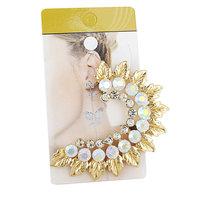 2015 New Hot Fashion Elegant Flower Crystal Ear Clip High Quality Rhinestone Ear Cuff Women Earrings Jewelry
