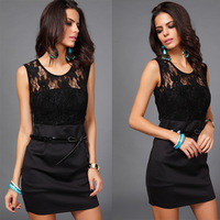 hot sales decorated belt hip dress sexy lace dress