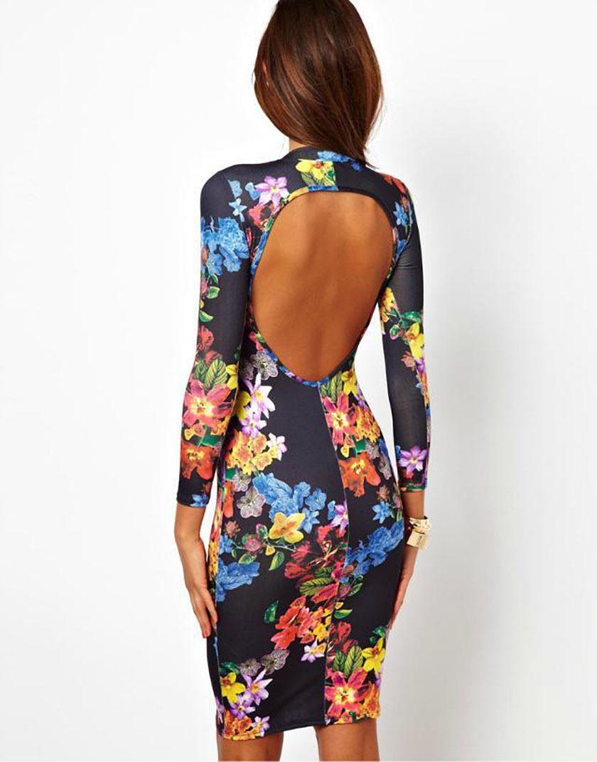 Vestidos De Baño Angel Azul:Floral Bodycon Midi Dresses