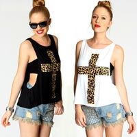 2015 New Summer Sexy Women's Leopard Cross Print Sleeveless T-shirt Tops Casual Tank Vest Chest Wrap TNST009