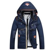 Amur Mens Winter Trench Coat 90%Duck Down Parkas Cotton Jackets Pu patchwork