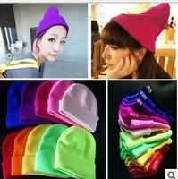 10piece beanies hat Fluorescent fall  winter knit hat hip hop hedging winter cap beanies for men women's hats free shipping sale