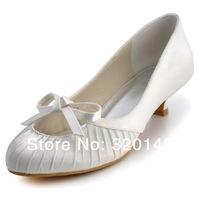 "Fashion Shoes EP2057  1.5"" Round Toe  Low  Heel  Bows Satin Women's Wedding  Shoes Euro 35-42/US 4-11"