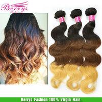 Ombre hair three color hair Peruvian virgin hair body wave human Hair extension 3pcs/lot 100g/pcs No Tangle & Shedding