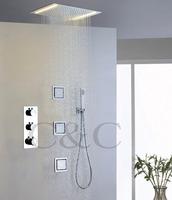 110V~220V Alternating Current LED Yellow Lamps Rainfall Shower Head Thermostatic Bathroom Rainfall Shower Faucet Set