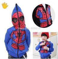 retail  boy outwear Spider-Man Spring  new cartoon baby long sleeve hoodies zipper jacket Kids