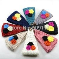 Women Crochet Headband Knit Hairband Flower Winter Ear Warmer Headwrap 8 Colors Free shipping 1pc WH070