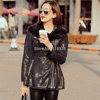 New 2014 winter women luxury warm thick faux fur jacket black turn-down collar full pelt brand jackets outerwear skirt slim coat