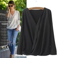 2015 European Style Women Shirt Chiffon V-neck Long Sleeve Solid  Loose Summer Shirt Famous Brand Tops Blouse CL2180