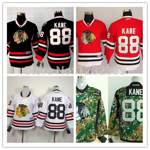 Free Shipping Youth Chicago Blackhawks Patrick Kane Jersey Kids Home Red White Camo ,Black Hockey(China (Mainland))