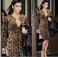 Sexy Autumn Leopard Sasual Bodycon Pencil Dresses for Women TND004